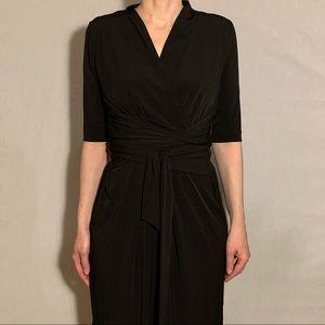 Tahari Black Cupro Midi Dress